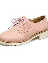 Women's Heels Comfort Spring Fall PU Outdoor Office & Career Lace-up Chunky Heel Almond Blushing Pink White 1in-1 3/4in