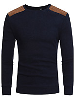 Men's Sports Casual/Daily Work Simple Active Chinoiserie Regular Pullover,Solid Round Neck Long Sleeves Cotton Fall Winter Medium Stretchy