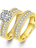 Men's Women's Couple Rings Cubic Zirconia Synthetic Diamond Punk Luxury Statement Jewelry Chrismas Classic Zircon Gold Plated Circle