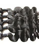 Недорогие -Человека ткет Волосы Наращивание волос 5 предметов Бразильские волосы Черный Ткет человеческих волос 0.5