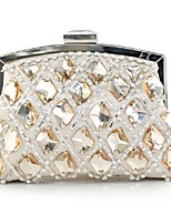 Women Bags Winter All Seasons Silk Clutch Rhinestone Pleated Chain for Wedding Event/Party Casual Formal Office & Career White Apricot