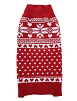 Cat Dog Coat Sweater Dog Clothes Party Casual/Daily Keep Warm Sports Wedding Christmas New Year's Snowflake Ruby