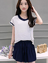 Women's Casual/Daily Simple Summer T-shirt Pant Suits,Solid V Neck Short Sleeve