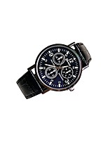 Men's Women's Fashion Watch Quartz Genuine Leather Band Casual Black Brown