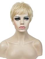 Women Synthetic Wig Capless Short Straight Blonde Pixie Cut Natural Wig Costume Wigs