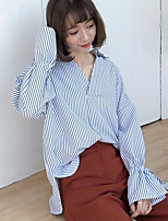 Women's Casual/Daily Simple Shirt,Striped V Neck Long Sleeves Others