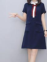 Damen Hülle Kleid-Lässig/Alltäglich Solide Druck Ständer Mini Übers Knie Kurzarm Baumwolle Sommer Hohe Hüfthöhe Mikro-elastisch Dünn