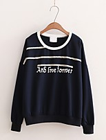 Damen Solide Einfarbig Einfach Niedlich Street Schick Ausgehen Lässig/Alltäglich T-shirt,Rundhalsausschnitt Sommer Herbst Langarm