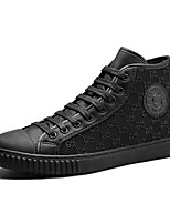 Men's Sneakers Comfort Spring Fall PU Microfibre Casual Outdoor Zipper Lace-up Flat Heel Black Flat