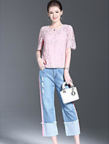 Women's Going out Simple Summer Blouse Pant Suits,Solid Round Neck Short Sleeve Micro-elastic