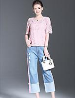 Chemisier Pantalon Costumes Femme,Couleur Pleine Sortie simple Eté Manches Courtes Col Arrondi Micro-élastique