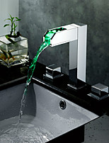 Contemporary Brass Chrome LED RGB Two Handles Three Holes Bathroom Sink Faucet