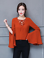 Women's Casual/Daily Street chic Spring Fall Blouse,Solid Round Neck Long Sleeves Polyester Medium