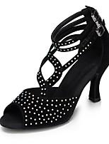 Women's Latin Silk Sandals Performance Crystals/Rhinestones Cuban Heel Black 2