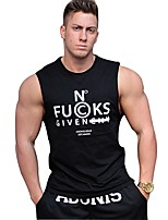 Men's Gym Tank Top Sweat-Wicking Breathability T-shirt Top for Running/Jogging Casual Exercise & Fitness Fitness Cotton Slim Black M L XL