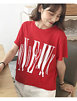 Women's Going out Casual/Daily Simple Summer T-shirt,Solid Letter Round Neck Short Sleeves Cotton Thin