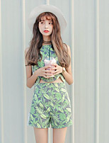 Women's Casual/Daily Simple Summer T-shirt Pant Suits,Leaf Round Neck Sleeveless