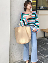 Women's Casual/Daily Simple T-shirt,Striped Round Neck Long Sleeves Linen