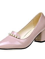 Women's Heels Light Soles PU Summer Casual Dress Block Heel Blushing Pink Beige Black 2in-2 3/4in