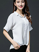 Women's Casual/Daily Simple Summer Blouse,Solid V Neck Short Sleeves Spandex Medium