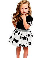 Girls' Floral Sets,Cotton Summer Short Sleeve Clothing Set