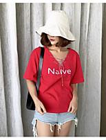 Damen Buchstabe Einfach Lässig/Alltäglich T-shirt,V-Ausschnitt Kurzarm Baumwolle