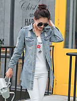 Women's Casual/Daily Simple Spring Fall Denim Jacket,Solid Square Neck Long Sleeve Regular Cotton Acrylic