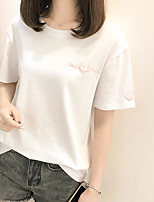 Women's Casual/Daily Simple T-shirt,Print Letter Round Neck Short Sleeves Cotton Others