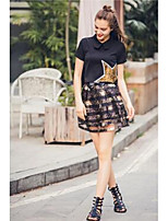 Women's Casual/Daily Simple Summer T-shirt Skirt Suits,Solid Print Crew Neck Short Sleeve