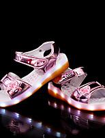 Girls' Sandals Light Soles Summer Synthetic Microfiber PU Casual Dress LED Hook & Loop Flat Heel Gold Black Sliver Blushing Pink Flat