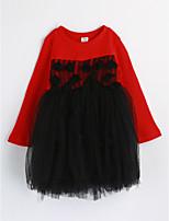 Девичий Платье На каждый день Хлопок Контрастных цветов Весна Осень Длинный рукав
