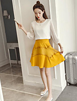 Women's Casual/Daily Simple Summer T-shirt Skirt Suits,Solid Round Neck Long Sleeve