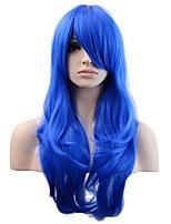 Donna Parrucche sintetiche Senza tappo Lungo Onda naturale Royal Blue Parrucca naturale costumi parrucche