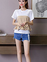 Women's Casual/Daily Simple T-shirt,Check Round Neck Short Sleeves Cotton
