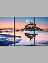 Mount-Saint-Michel and its Bay 3 Panels Hand-painted Oil Paintings on Canvas Modern Artwork Wall Art for Room Decoration 20x28inchx3