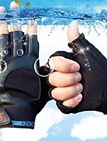 Men's PU Wrist Length Half Finger Soak Off Outdoor Sports Solid Spring/Fall Summer Bike Cycling Leather Gloves Black