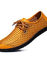 Men's Sneaker Ankle Strap Fall Winter Leather Casual Lace-up Light Brown Yellow Dark Blue Flat