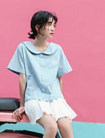 Damen Solide Einfach Lässig/Alltäglich T-shirt,Hemdkragen Kurzarm Baumwolle Andere