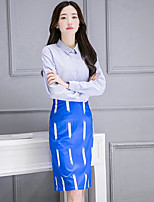 Women's Casual/Daily Simple Fall Shirt Skirt Suits,Striped Shirt Collar Long Sleeve