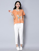 Women's Casual/Daily Simple Summer T-shirt Pant Suits,Animal Print Round Neck Short Sleeve