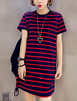 Women's Casual/Daily Simple T-shirt,Striped Round Neck Short Sleeves Cotton Others