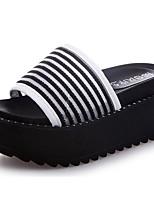 Damen Slippers & Flip-Flops Fersenriemen Sommer PU Kleid Creepers Weiß Schwarz 7,5 - 9,5 cm