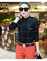 Women's Casual/Daily Simple Shirt,Houndstooth Shirt Collar 3/4 Length Sleeves Others