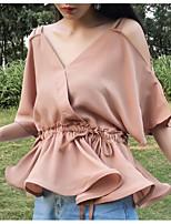 Для женщин На каждый день Блуза V-образный вырез,Простое Однотонный Рукав до локтя,Другое