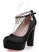 Women's Heels Comfort Fall Winter PU Casual Dress Buckle Tassel Block Heel Black White 3in-3 3/4in