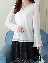 Women's Going out Casual/Daily Simple Fall Blouse,Solid V Neck Long Sleeves Silk Cotton