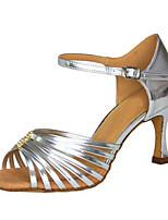 Femme Latines Faux Cuir Sandales Spectacle Entrecroisé Talon Aiguille Argent 7,6 à 9,5cm Personnalisables