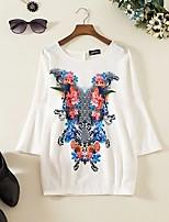 T-shirt Da donna Per uscire Casual Semplice Moda città Primavera Autunno,Tinta unita Con stampe Rotonda Cotone Manica lungaSottile Medio