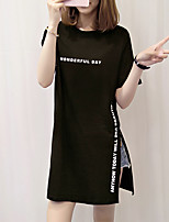 Women's Casual/Daily Simple Summer T-shirt,Letter Round Neck Short Sleeves Cotton Medium