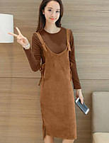 Women's Going out Casual/Daily Simple Spring T-shirt Skirt Suits,Solid Strap Long Sleeve